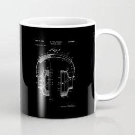Headphones Patent - White on Black Coffee Mug