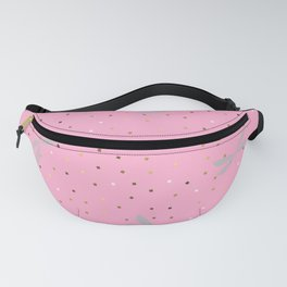 Silver Dragonfly Christmas seamless pattern and Gold Confetti on Hot Pink Background Fanny Pack