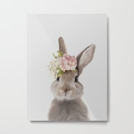 Rabbit Print, Bunny Watercolor Print, Rabbit Art Metal Print