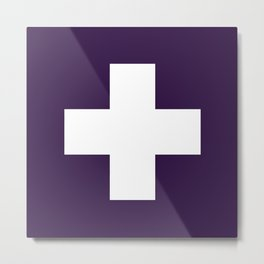 Swiss Cross Purple Metal Print