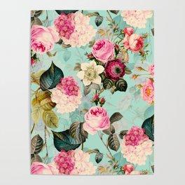 Vintage & Shabby Chic - Summer Teal Roses Flower Garden Poster