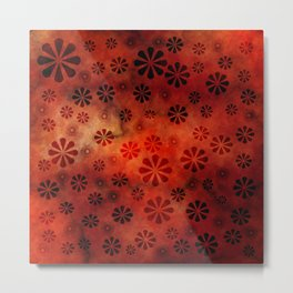 Burnt Orange Flowers Pattern Metal Print