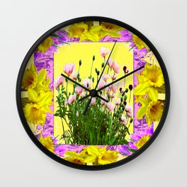YELLOW DAFFODILS FLOWER GARDEN & PINK POPPIES DESIGN Wall Clock