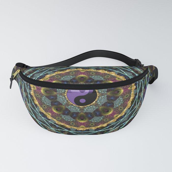 Purple Yin Yang Sacred Geometry Fractals Fanny Pack