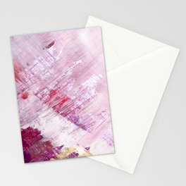 Magnetic [10]: a minimal abstract piece in gold, pink, red, white and purple Stationery Cards
