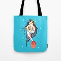 mermaid Tote Bags featuring Mermaid by Freeminds