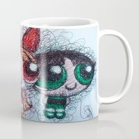 powerpuff girls Mugs featuring powerpuff girls doodle/scribble by Patricia Pedroso