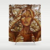 zebra Shower Curtains featuring Camouflage by Raquel García Maciá