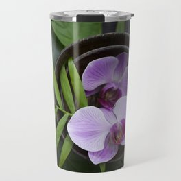 Zen Style Pink Orchids And Palm Leaf Travel Mug
