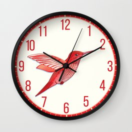Red hummingbird colibri. Wall Clock