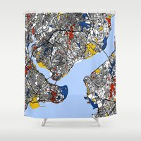 istanbul Shower Curtains featuring Istanbul mondrian by Mondrian Maps