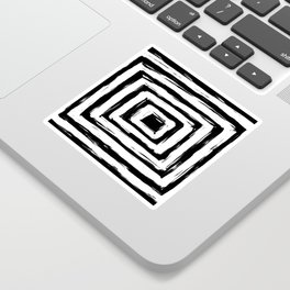 Minimal Black and White Square Rectangle Pattern Sticker