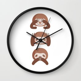 Funny Cute Sloth Don't See Don't Hear Don't Speak Animals Design Wall Clock