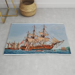 Revolutionary Painting of the Frigate Confederacy Rug