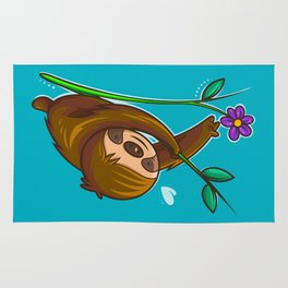 Sloth And Flower Rug