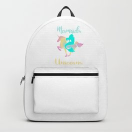 Mermaids Hangout With Unicorn Magical Creatures Magic Fantasy Rainbow Myth Horse Lovers Gift Backpack