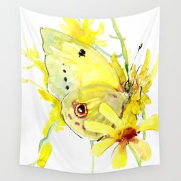 Yellow Butterfly and Yellow Flowers Wall Tapestry