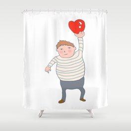 fat boy holding a heart. Shower Curtain