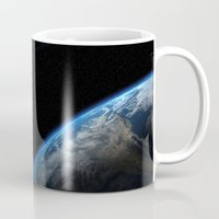 earth Mugs featuring Earth by Space99