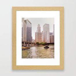 Boating on the Chicago River Framed Art Print
