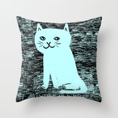 Wood grain cat Throw Pillow