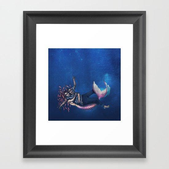 Mermaid & Sailor Framed Art Print
