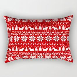 Scottish Terrier Silhouettes Christmas Sweater Pattern Rectangular Pillow