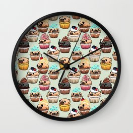 Cupcake Pugs Wall Clock