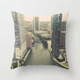 Raised Bridges Over Chicago River Color Photo Throw Pillow