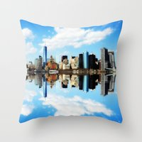 new york Throw Pillows featuring New York New York by haroulita