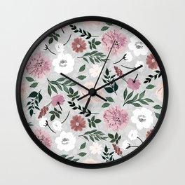Vintage Elegant floral Paint Light Gray design Wall Clock