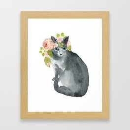 cat with flower crown Framed Art Print