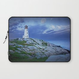 Lighthouse at Peggy's Cove in the Moonlight Laptop Sleeve