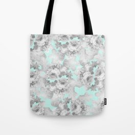 Vintage black white teal stylish chic roses floral Tote Bag