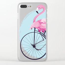 Cute flamingo on vintage bike. Clear iPhone Case