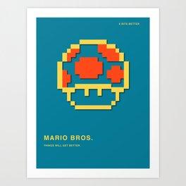 8 BITS BETTER - MARIO BROS. Art Print