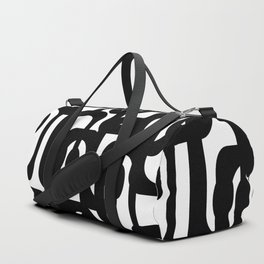 Black and White Mid-century Modern Loop Pattern Duffle Bag