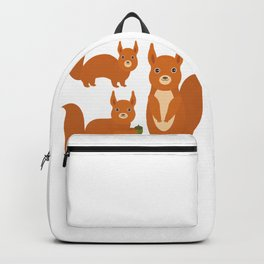 Set of funny red squirrels with fluffy tail with acorn  on white background Backpack