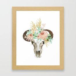 Bohemian bull skull with flowers Framed Art Print