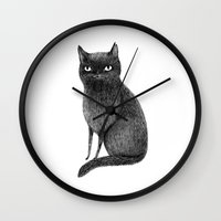 black cat Wall Clocks featuring Black Cat by Sophie Corrigan