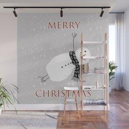 Snowman Yoga - Side Planck Wall Mural