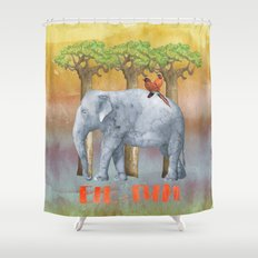 ELE FUN - Elephant Africa Watercolor Illustration Shower Curtain
