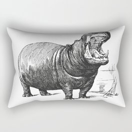 Hippopotamus black and white retro drawing Rectangular Pillow