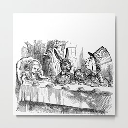 Vintage Alice in Wonderland Mad Hatter & rabbit tea party antique goth emo book gothic drawing print Metal Print