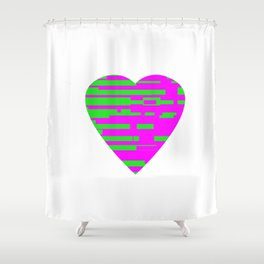 Glitching Hearts — Pink and Green Shower Curtain