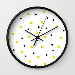 Seamless Black Yellow Dots Pattern Wall Clock