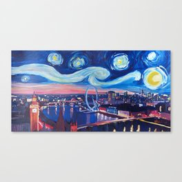 Starry Night in London - Van Gogh Inspirations with Big Ben and London Eye Canvas Print