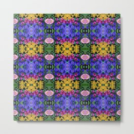 Floral Spectacular: Blue, Plum, Gold - square repeating pattern, Olbrich Botanical Gardens, Madison Metal Print