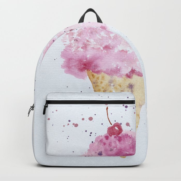 Ice cream Love Summer Watercolor Illustration Backpack