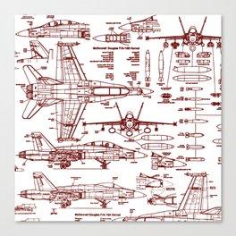 F-18 Blueprints // Red Ink Canvas Print